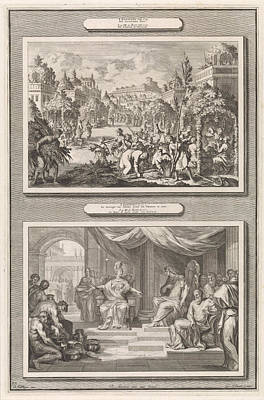 Feast Of Tabernacles And Solomon And The Queen Of Sheba Art Print by Jan Luyken And Hendrik Elandt And Pieter Mortier
