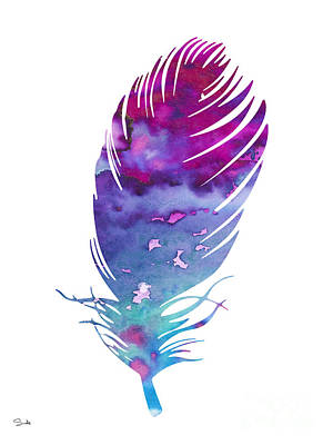 Feather Art Painting - Feather 4 by Watercolor Girl