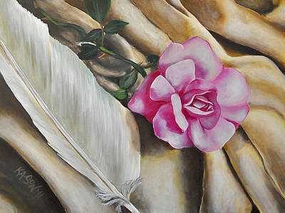 Painting - Feather And Rose by Ka-Son Reeves