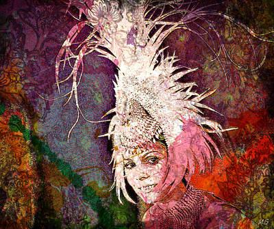 Digital Art - Feather Headress - Nelida Lobato by Absinthe Art By Michelle LeAnn Scott