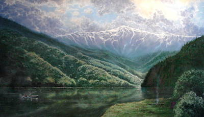 Contemplative Painting - Feather River Canyon by Holly Smith