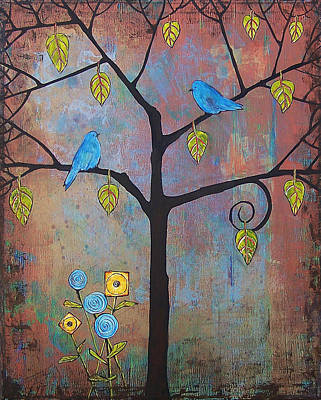 Bluebird Painting - Feathered Friends by Blenda Studio