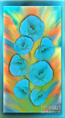Feathered Turquoise Poppies Art Print by Giada Rossi