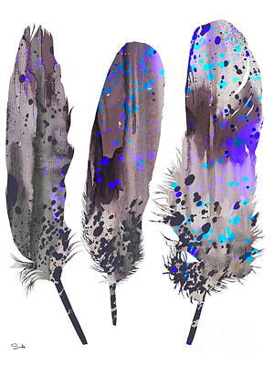 Beach Decor Painting - Feathers 2 by Watercolor Girl