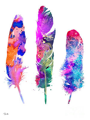 Feathers Painting - Feathers 3 by Watercolor Girl