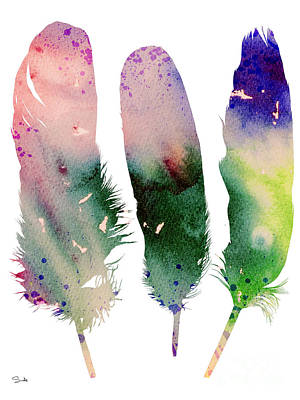 Beach Decor Painting - Feathers 4 by Watercolor Girl