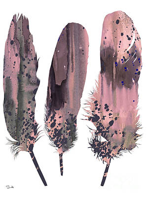 Painting - Feathers 6 by Watercolor Girl