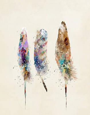 Poster Painting - Feathers by Bri B