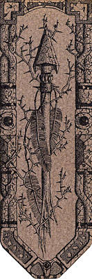 Pointillist Photograph - Feathers Thorns And Broken Arrow Bookmark No1 by Weston Westmoreland