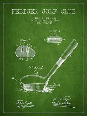 Sports Royalty-Free and Rights-Managed Images - Febiger Golf Club Patent Drawing from 1902 - Green by Aged Pixel