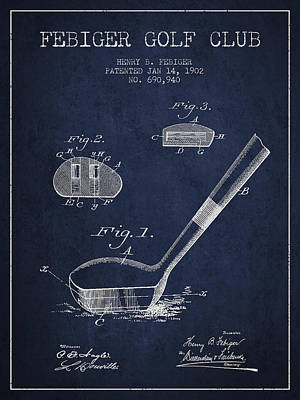 Sports Royalty-Free and Rights-Managed Images - Febiger Golf Club Patent Drawing from 1902 - Navy Blue by Aged Pixel