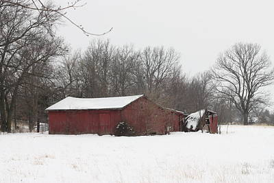 Photograph - February 2014 Red Barn by Kathy Cornett