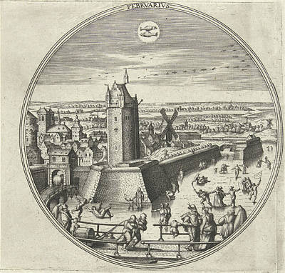 February, Adriaen Collaert, Hans Bol, Hans Luyck Art Print by Adriaen Collaert And Hans Bol And Hans Luyck