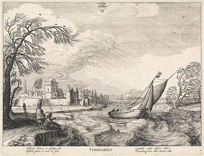 Pisces Fish Drawing - February, Jan Van De Velde II by Jan Van De Velde (ii) And Claes Jansz. Visscher (ii)