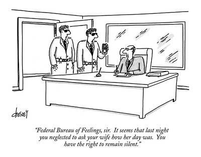 Feelings Drawing - Federal Bureau Of Feelings by Tom Cheney