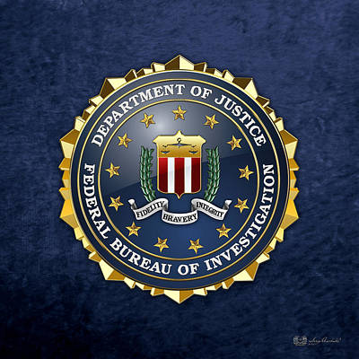 Federal Bureau Of Investigation - F B I Emblem On Blue Velvet Art Print by Serge Averbukh