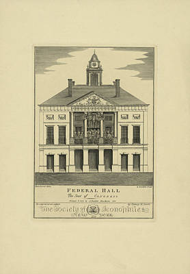 Copper Drawing - Federal Hall. The Seat Of Congress  Re-engraved On Copper by Litz Collection