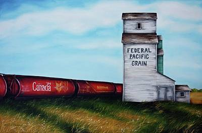 Grain Elevator Painting - Federal Pacific Grain by Kristina Steinbring