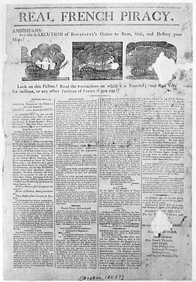 Piracy Painting - Federalist Broadside, 1808 by Granger