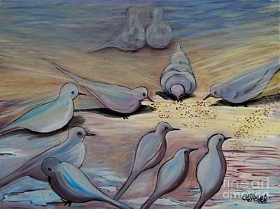 Carolinestreetart Painting - Feed The Birds by Caroline Street