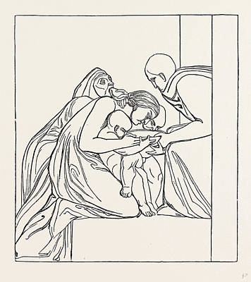 Feed The Hungry From A Bas-relief Of John Flaxman Art Print by English School