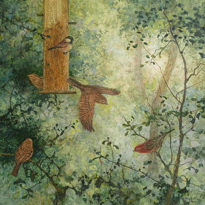 Wall Art - Painting - Feeder And Finches by Floy Zittin