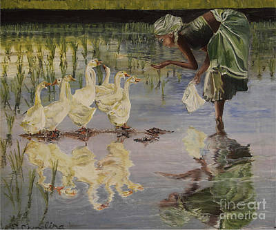 Rice Paddy Painting - Feeding by Debra Chmelina