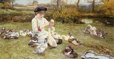 Feeding Ducks Art Print by Edward Killingworth Johnson