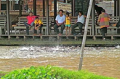 Feeding Frenzy For Fish In Sakae Krang River In Uthaithani-thailand Original