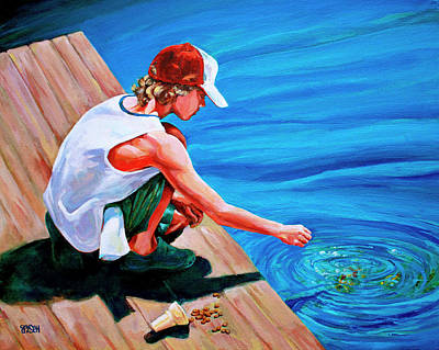 Baseball Cap Painting - Feeding Koi by Derrick Higgins
