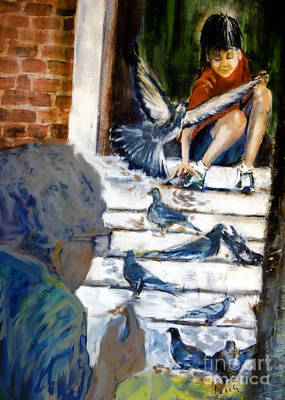 Pigeon Mixed Media - Feeding Pigeons by Cecily Mitchell