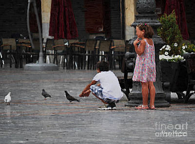 Pigeon Digital Art - Feeding Pigeons In The Plaza by Mary Machare