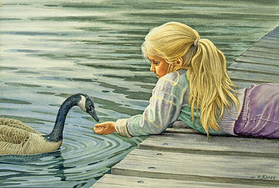 Goose Wall Art - Painting - Feeding The Canada Goose by Paul Krapf