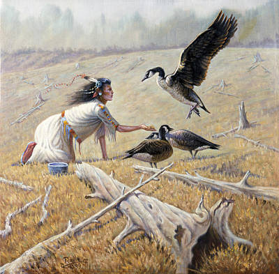 Chief Joseph Painting - Feeding The Canadian Geese by Gregory Perillo