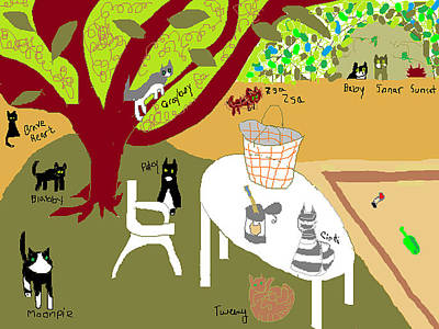 Print featuring the painting Feeding The Cats At The Park by Anita Dale Livaditis