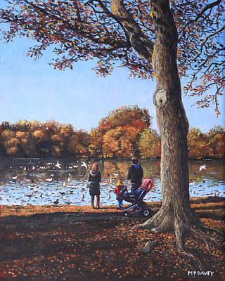 Painting - Feeding The Ducks At Southampton Common by Martin Davey