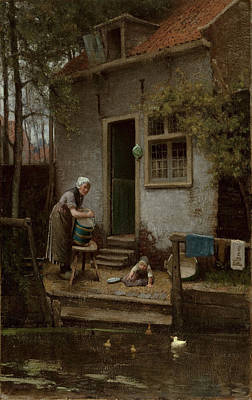 Domestic Duck Painting - Feeding The Ducks by Bernardus Johannes Blommers or Bloomers