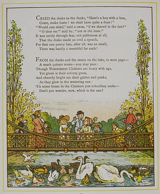Feeding The Ducks In St. Jame's Park Art Print by British Library