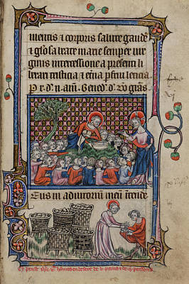 French Script Photograph - Feeding The Five Thousand by British Library