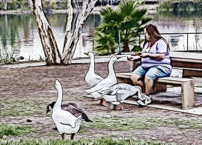 Digital Art - Feeding The Geese by Photographic Art by Russel Ray Photos