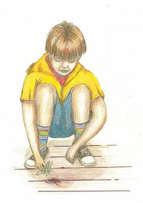 Drawing - Feeding The Hole by Lew Davis