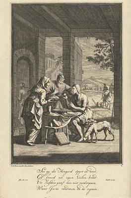 Mercy Drawing - Feeding The Hungry, Jan Luyken by Jan Luyken And Gerrit De Broen Sr.