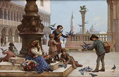 Feeding The Pigeons Print by Antonio Paoletti