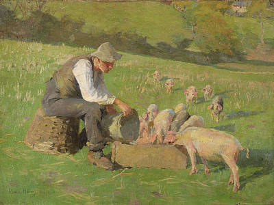 Swine Painting - Feeding Time by Harold Harvey