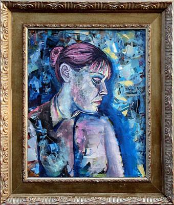Self-portrait Mixed Media - Feeling Blue by Natasha Sazonova