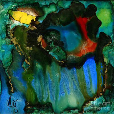 Ceramic Art Tile Painting - Feeling Violated And Blue by Angela L Walker