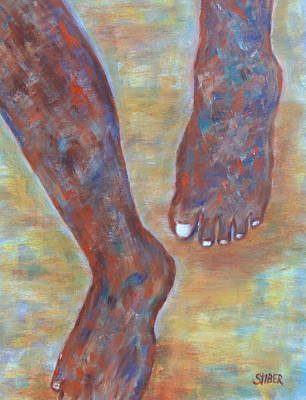 Contemplative Painting - Feet First by Kathy Stiber