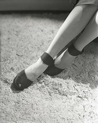 Suede Photograph - Feet Of Gloria Swanson Wearing Suede Dinner Pumps by Horst P. Horst