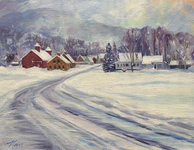 Felchville Village In The Snow Original by Nancy Griswold