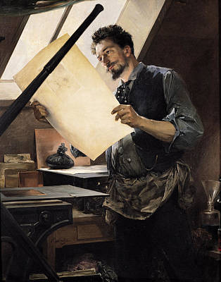 Felicien Rops 1833-98 In His Studio Oil On Canvas Art Print by Paul Mathey